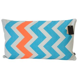 Neon Zigzag Cushion Orange & Blue