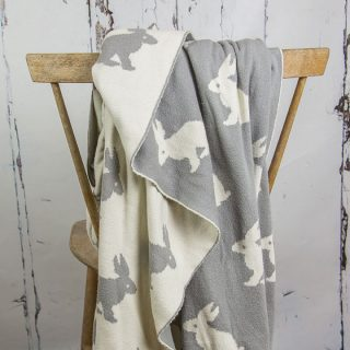 Grey And White Rabbit Blanket Or Throw
