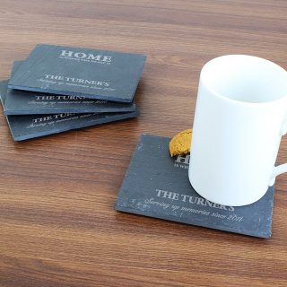 Personalised slate coaster set