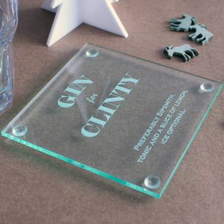 Personalised Perspex Gin Coaster.