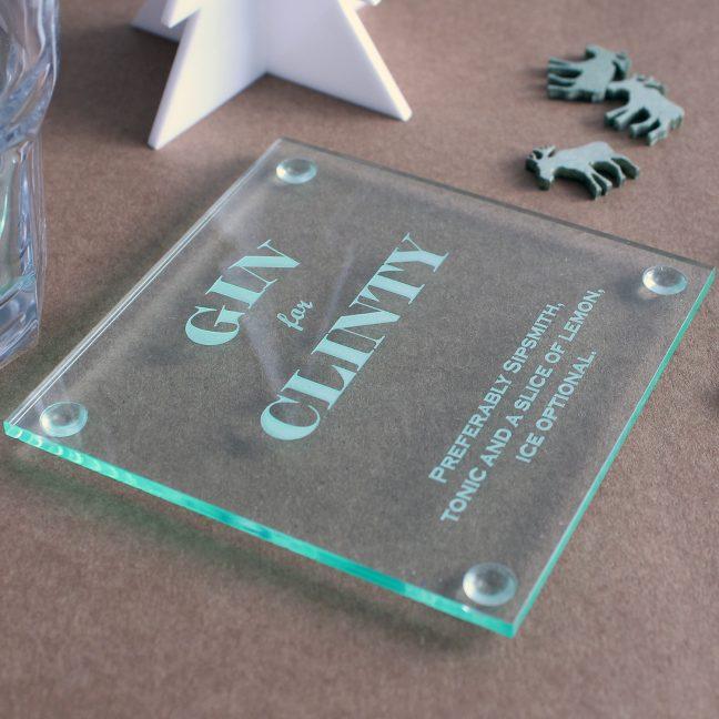 Personalised Perspex Gin Coaster.