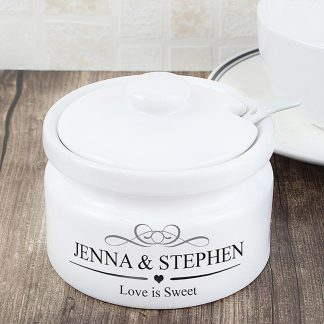 Personalised Ceramic Sugar Or Jam Pot