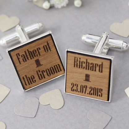 Personalised Top Hat Cufflinks In Wood
