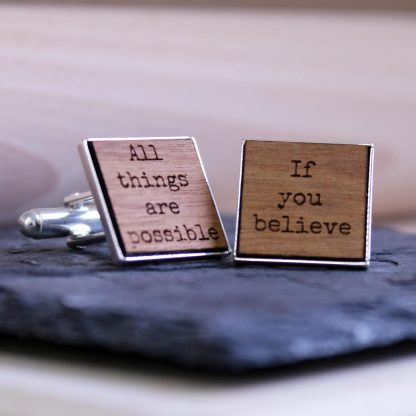 Inspirational Quote Wooden Cufflinks