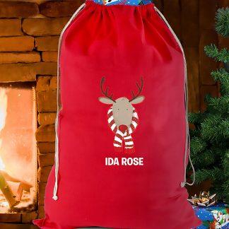 Personalised Red Christmas Reindeer Sack
