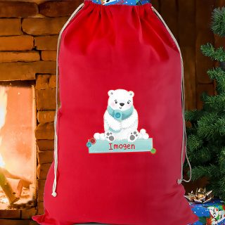 Personalised Red Christmas Polar Bear Sack