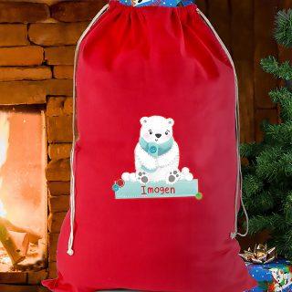 Personalised Red Christmas Polar Bear Sack
