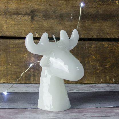 White Stag Head Candle