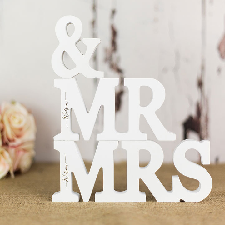 Personalised mr and mrs letters in white rocket and fox for Personalised mr and mrs letters