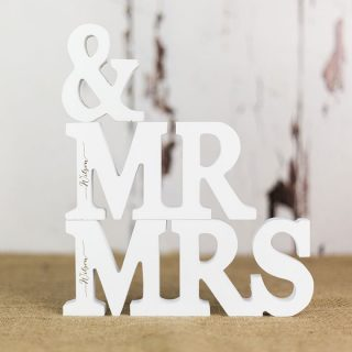 Personalised Mr And Mrs Letters In White