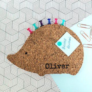 Personalised Cork Memoboard Hedgehog