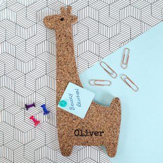 Personalised Cork Memoboard Giraffe