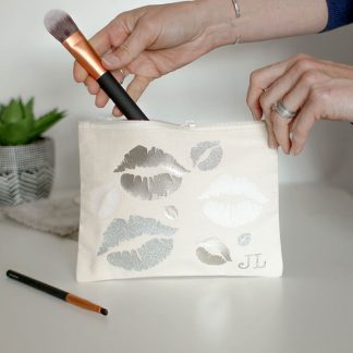 Personalised Metallic Lips Make Up Bag