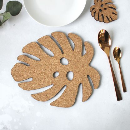 Monstera Leaf Placemat, Cork