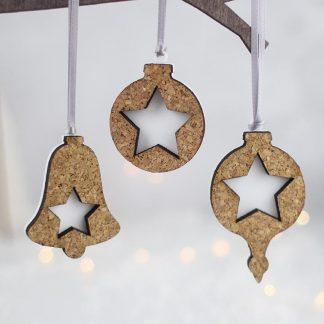 Christmas Decorations, Cork And Acrylic