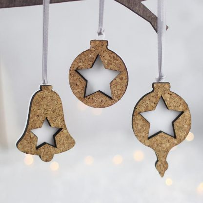 Christmas Decorations, Cork And Acrylic