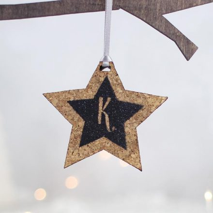 Personalised Star With Glitter Initial Black