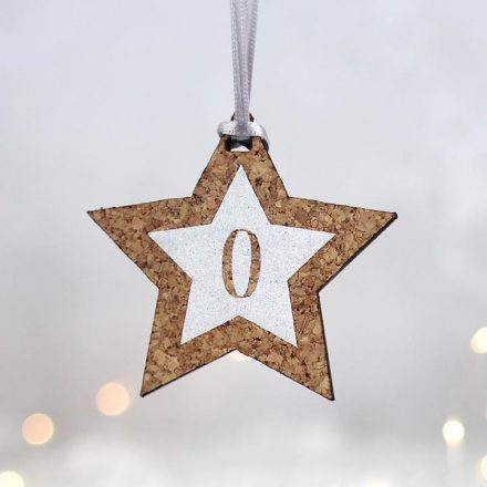 Personalised Star With Glitter Initial White