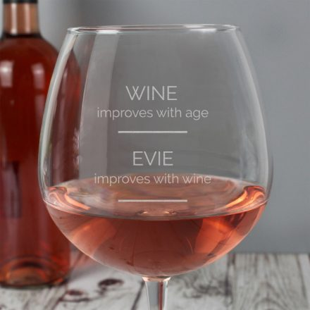 Personalised Wine Glass, Improves With Age