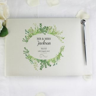 Botanical Guest Book With Pen, Personalised