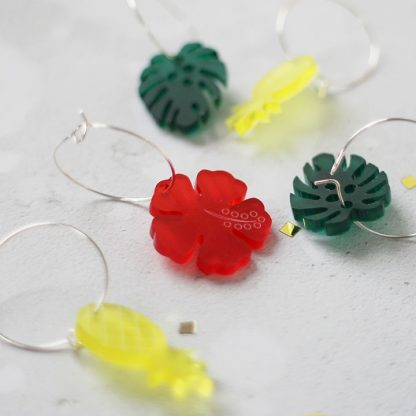 Wine Glass Charms, Tropical, Set Of Six