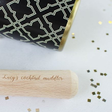 Brass Cocktail Shaker With Personalised Muddler