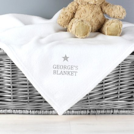 Personalised Baby Blanket, Silver Star