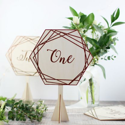 Wood Table Number, Geometric Copper Hexagonal