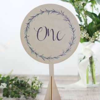 Botanical Wedding Table Number, Wood