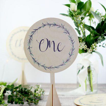 Botanical Wedding Table Number, Wood