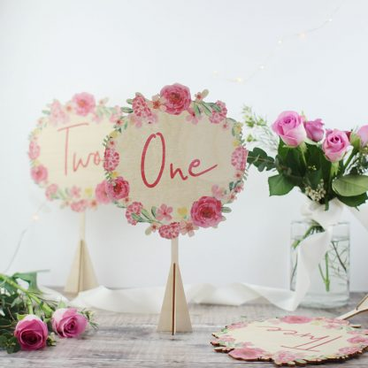 Floral Wreath Wedding Table Number, Wood