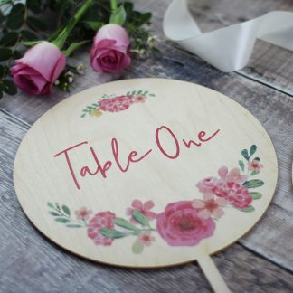 Round Floral Wreath Wedding Table Number, Wood