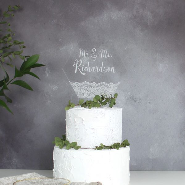 Personalised Lace Wedding Cake Topper