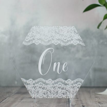 Hexagonal Lace Table Number
