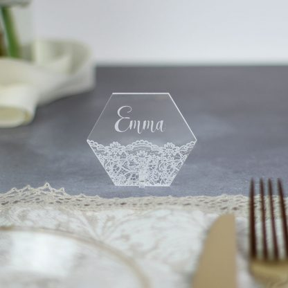 Personalised Place Setting, Hexagonal With Lace