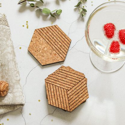 Cork Coasters Set Of Four, Cork Hexagons