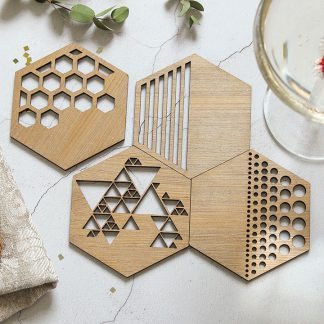 Bronze Coasters Set Of Four, Hexagon Cutout