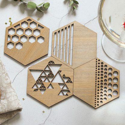 Bronze Coasters Set Of Four, Hexagon Cutout