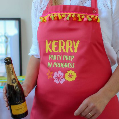 Personalised Party Apron With Pompoms And Tassels