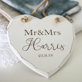 Personalised Wedding Heart, Mr And Mrs