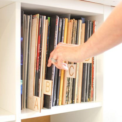 Personalised Vinyl Record Organisers A To Z, Wood