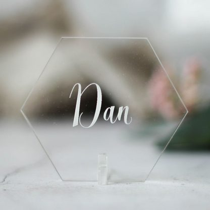 Personalised Place Setting, Clear Acrylic, Hexagon