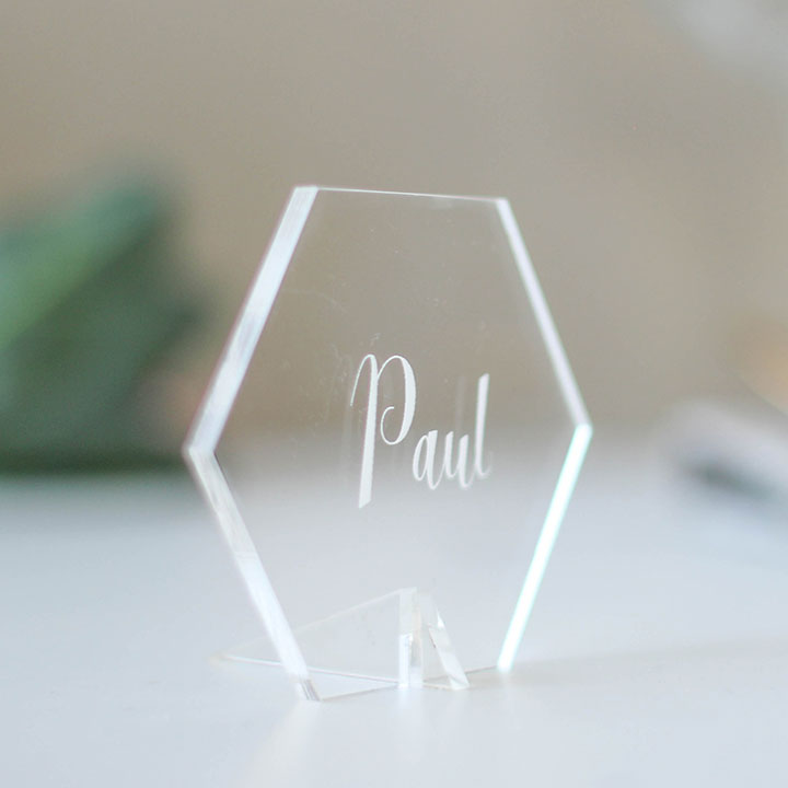 Personalised Place Setting Clear Acrylic Hexagon