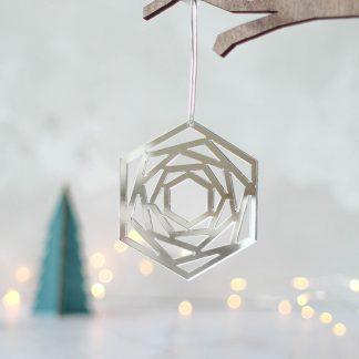 Mirror Christmas Tree Decoration, Geometric