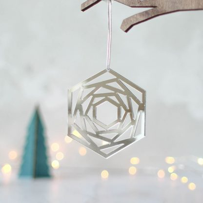 Mirror Christmas Tree Decoration, Geometric