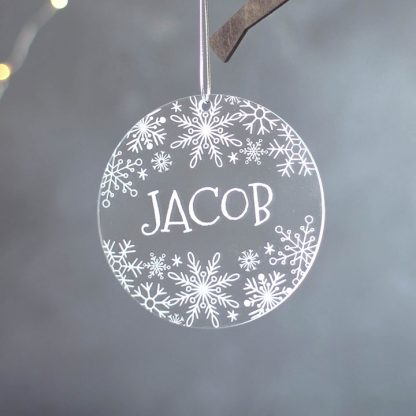 Snowflake Tree Decoration, Personalised Round