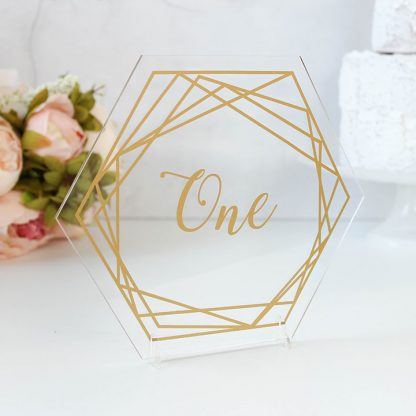 Gold Table Number, Clear Acrylic Hexagon, Geometric