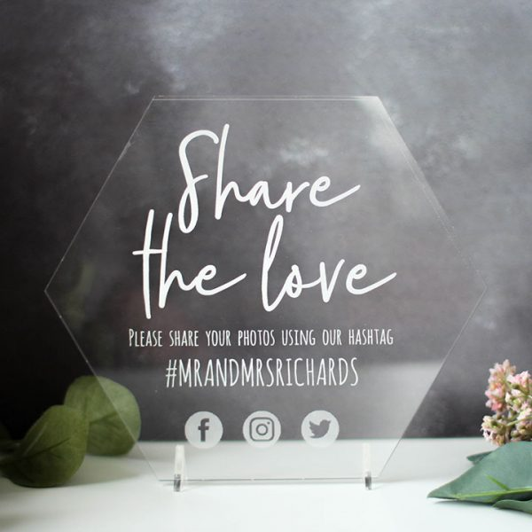 Wedding Social Media Sign, Hexagon