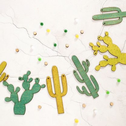 Cactus Garland In Wood