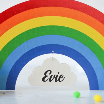 Personalised Rainbow And Clouds Sign